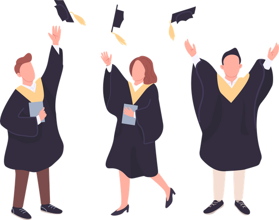 Happy students throwing bachelor caps in air Illustration