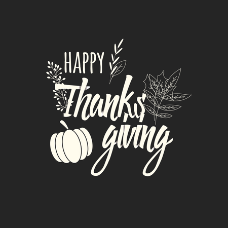 Happy Thanksgiving day card with decorative elements, colorful design Illustration