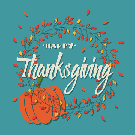 Happy Thanksgiving day card with decorative elements, floral wreath and pumpkin, colorful design Illustration