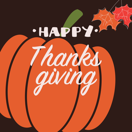 Happy Thanksgiving day card with decorative elements, orange pumpkin, colorful design Illustration