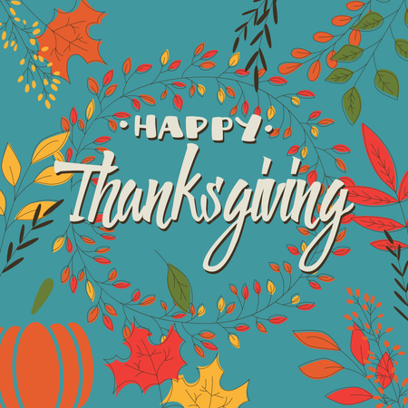 Happy Thanksgiving day card with decorative floral wreath, colorful design Illustration