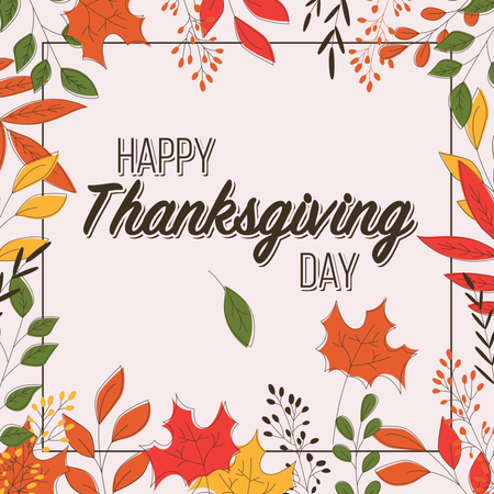 Happy Thanksgiving day card with floral decorative elements, colorful design Illustration