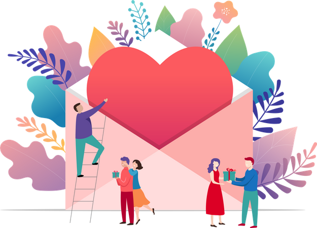 Happy Valentines day, love letter Illustration