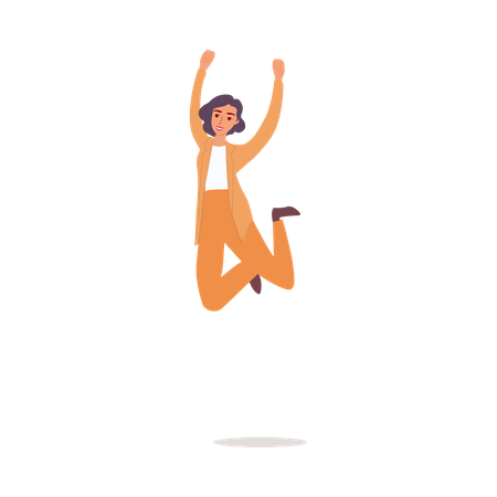 Happy woman in business suit jumping in air Illustration