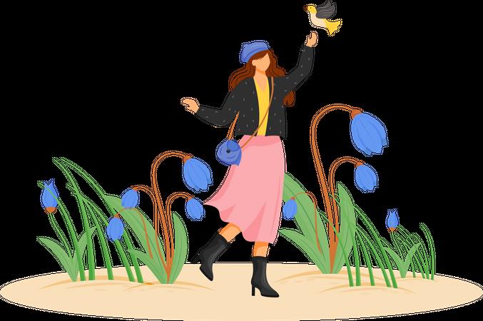 Happy woman in coat Illustration