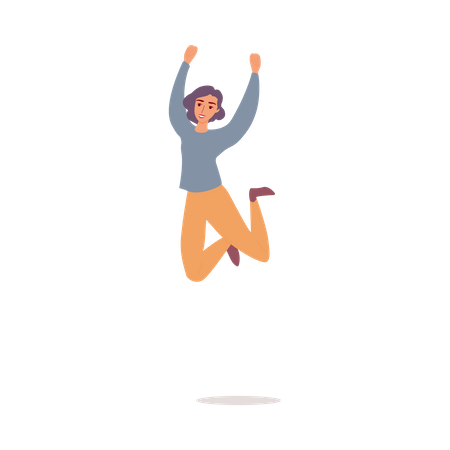 Happy woman jumping in air Illustration