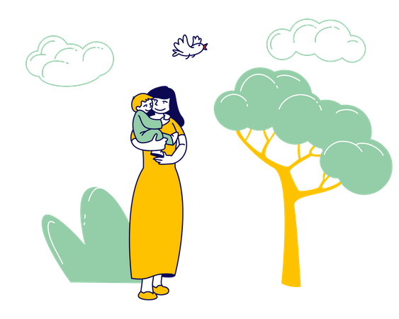 Happy Woman Walking with Child in City Park Illustration