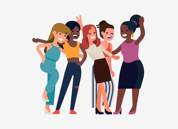 Happy women laughing together Illustration