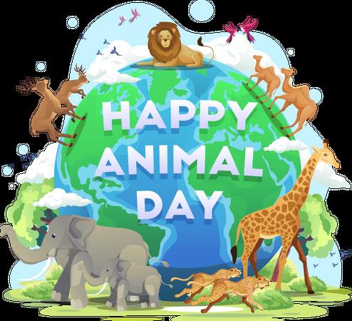 Happy World Animal Day Illustration