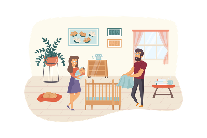 Happy young family with baby Illustration