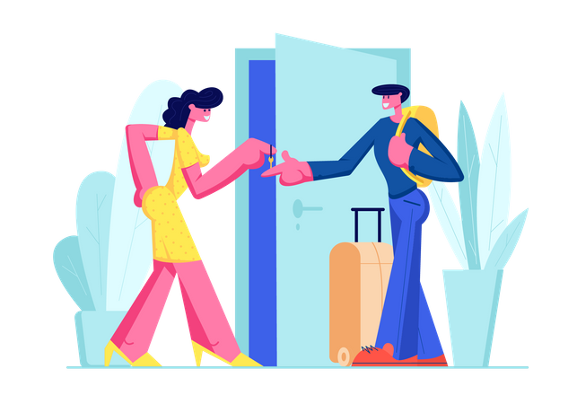 Happy Young Man with Luggage taking key Illustration