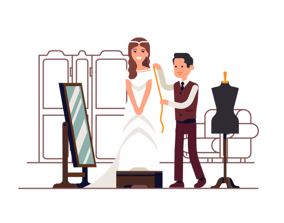 Happy young woman fitting and altering her white wedding dress with tailor Illustration