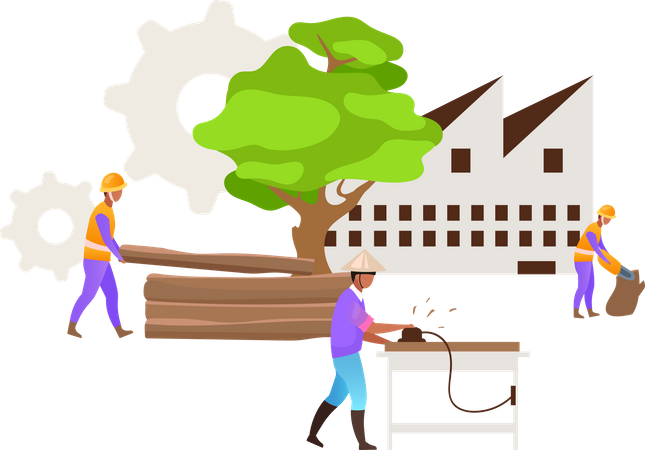 Hardwood timber production Illustration