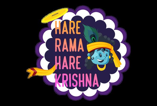 Hare Rama Hare Krishna Text with Face of lord Krishna Janmashtami Festival Slogan Illustration