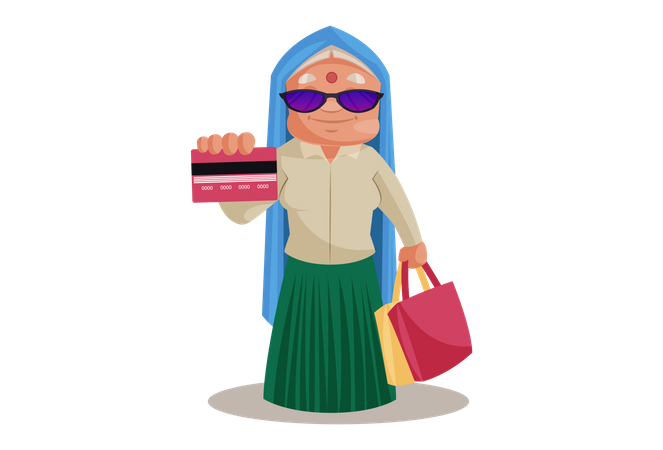 Haryanvi Woman showing Credit card for shopping payment Illustration