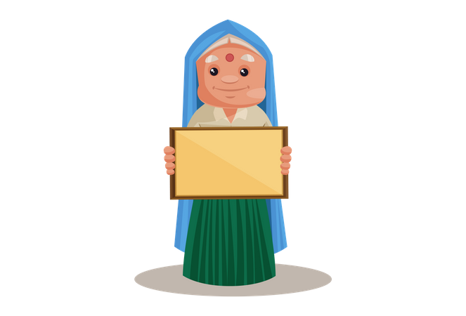 Haryanvi Woman Showing Empty Board Illustration