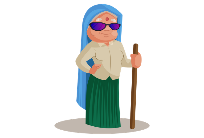 Haryanvi Woman stand wearing sun glasses and wood stick Illustration