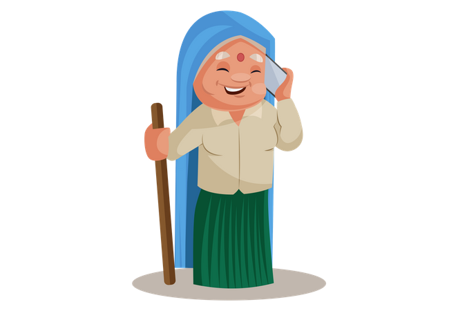 Haryanvi Woman talking on phone Illustration