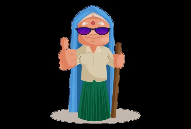Haryanvi Woman wearing sun glasses giving thumb up Illustration