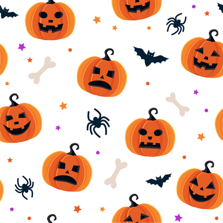 Haunted Halloween pumpkins pattern Illustration