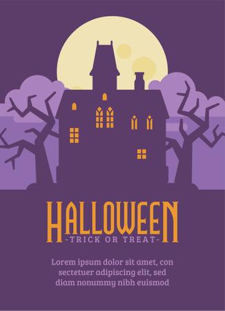 Haunted Mansion Halloween Flyer Illustration