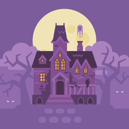 Haunted Mansion Halloween Scene Illustration