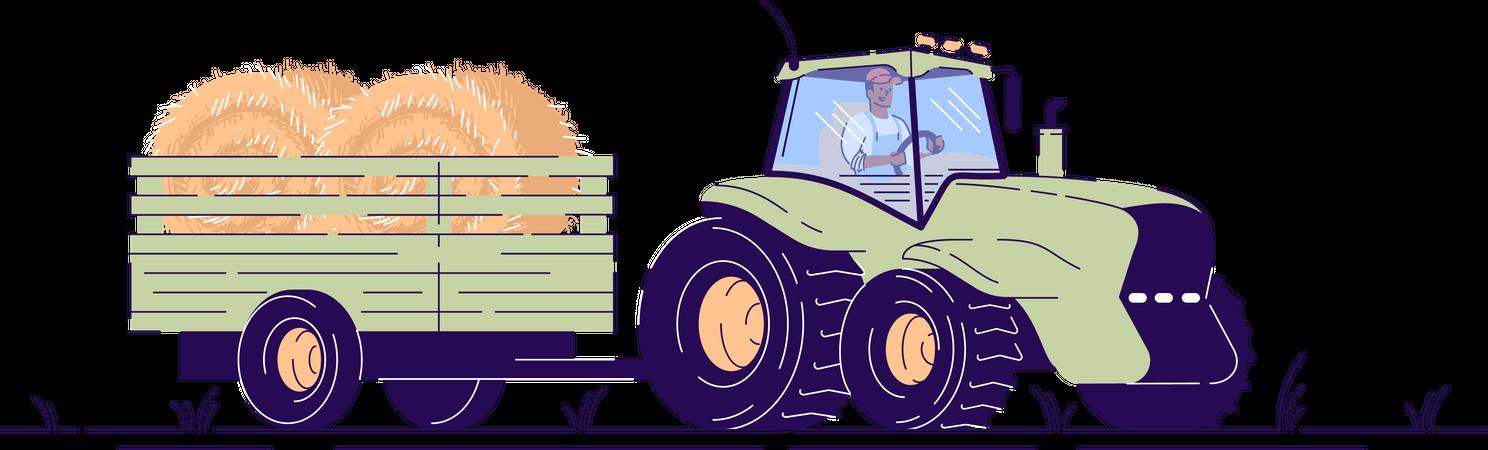 Hay harvesting Illustration