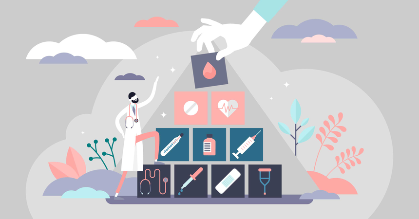 Health care pyramid Illustration