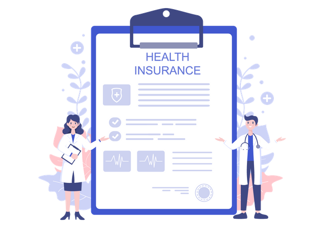 Health Insurance papers Illustration