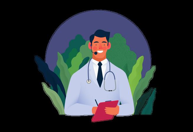 Healthcare insurance executive providing customer support Illustration