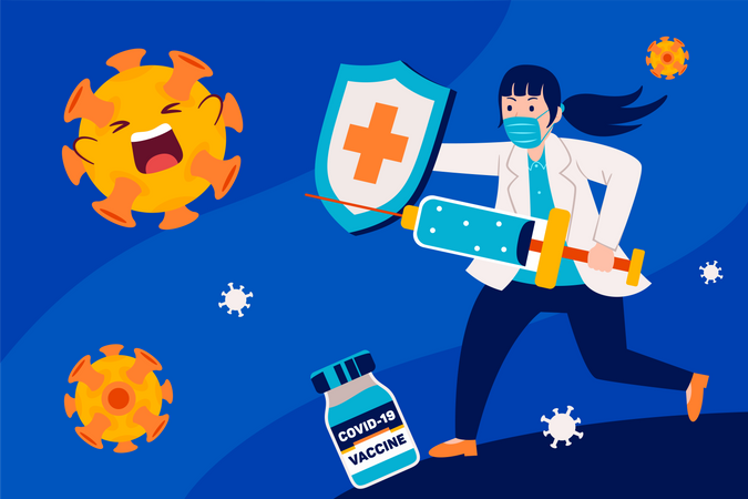 Healthcare workers fight with corona with vaccine 3 Illustration
