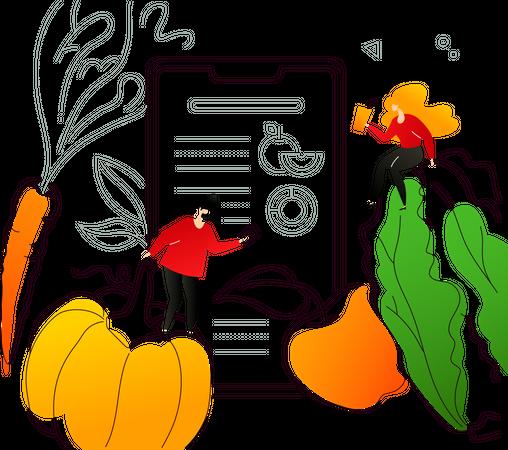 Healthy nutrition app -  Healthcare Illustration