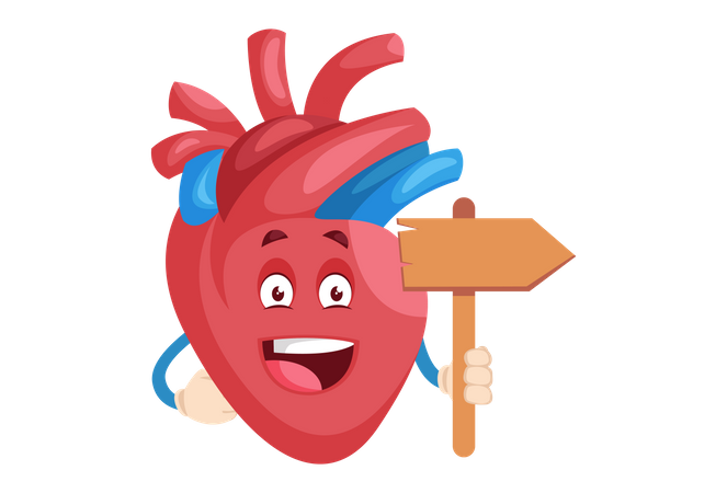 Heart character is holding a wooden board in hand Illustration