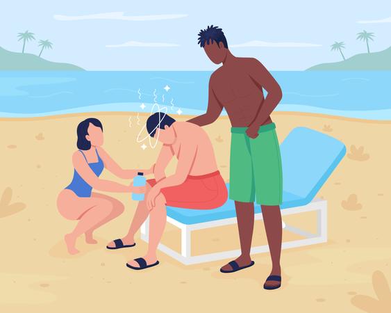 Heat stroke at beach Illustration