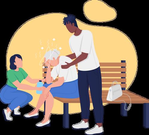 Heat stroke in elderly Illustration