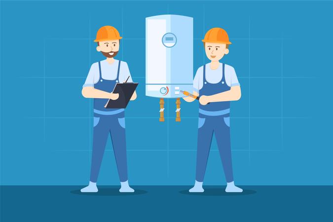 Heater Repairing Illustration