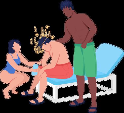 Heatstroke condition Illustration