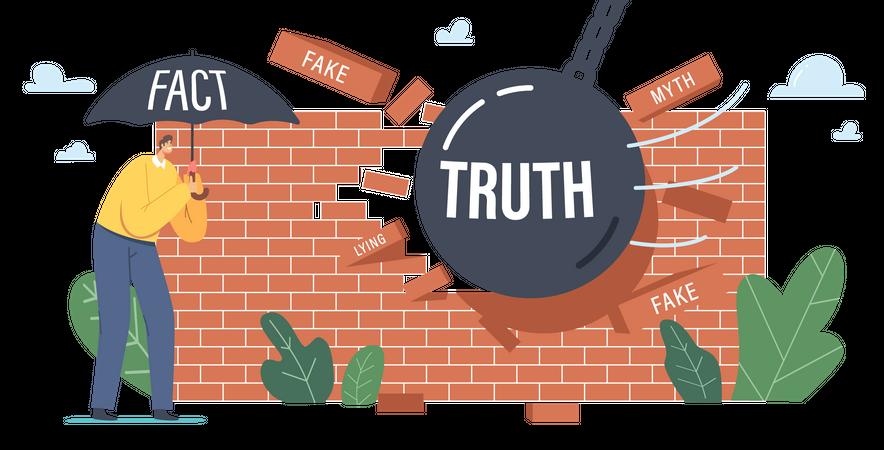 Heavy Ball Demolishing Fake News Wall Illustration