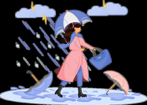 Heavy rainfall Illustration