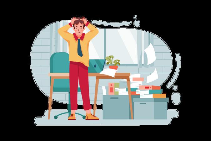 Heavy Work load on employee Illustration