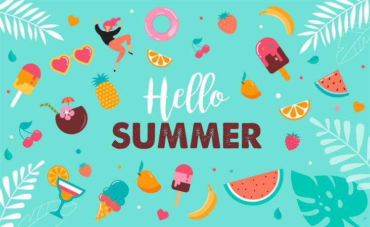 Hello summer abstract background Illustration