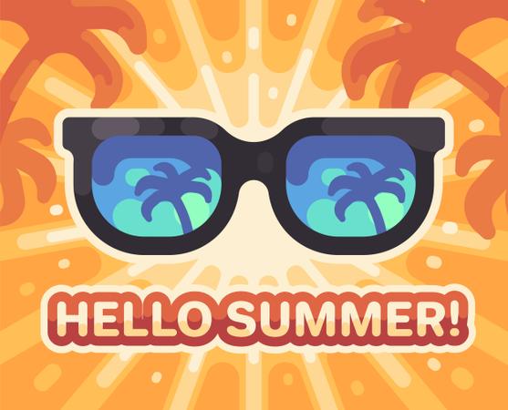 Hello summer! Colorful summer beach Illustration
