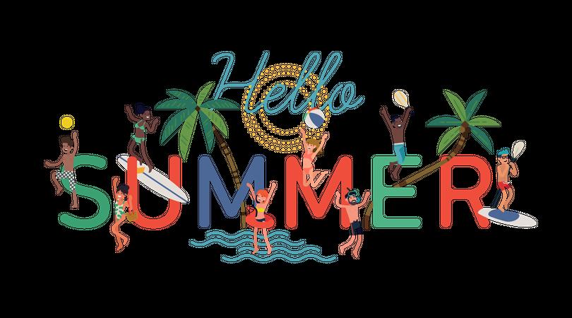 Hello summer concept Illustration