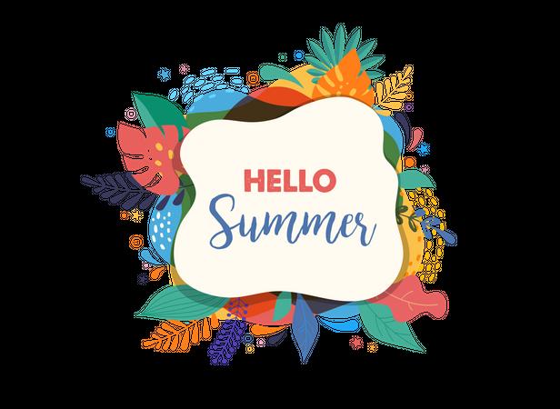 Hello summer poster Illustration