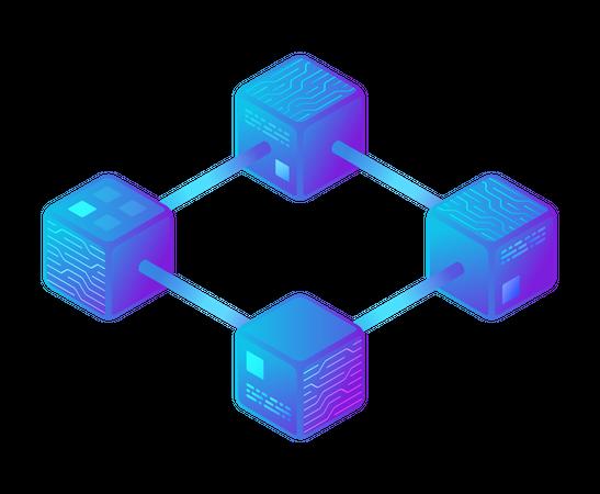 Hi-tech Block chain data structure visualisation Illustration