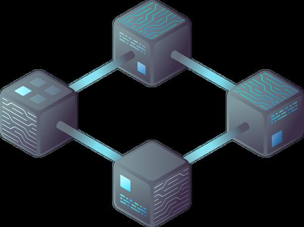 Hi tech Block chain process data structure visualization Illustration