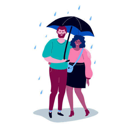 High quality scene with a boy and a girl in casual clothes standing under the umbrella on a rainy day, hugging each other Illustration