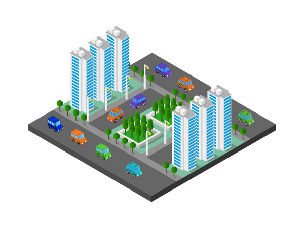 High-rise apartments Illustration