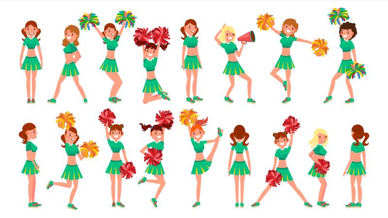 High-School Profession Cheerleader Teams Illustration