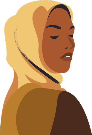 Hijab woman wearing Burqa Illustration